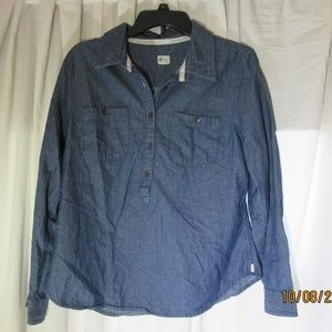 Toms 3/4 button up long sleeve dark blue size LG